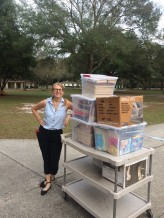 Donating books to the Joshua House