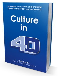 Culture in 4D: The Blueprint for a Culture of Engagement, Ownership, and Bottom-Line Performance by Tony Moore. https://www.amazon.com/Culture-Blueprint-Engagement-Bottom-Line-Performance/dp/1945812192
